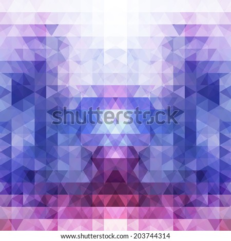 Abstract background with transparent triangle pattern in blue, pink and violet colours - stock vector