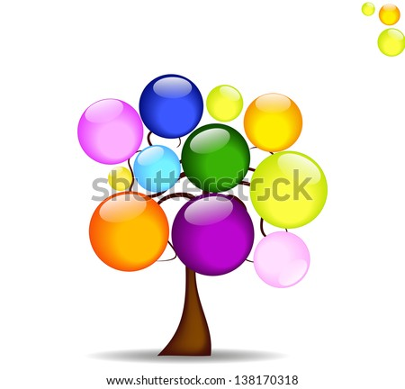 Abstract background with tree and like the rainbow colored balls - stock vector