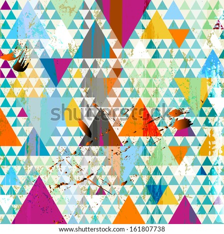 abstract background, with triangles, paint strokes and splashes - stock vector