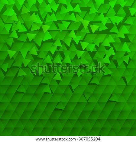 Abstract background with triangular shapes green - stock vector