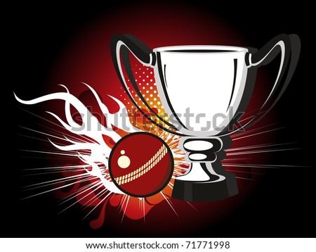 abstract background with trophy and leather ball, vector illustration - stock vector