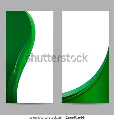 Abstract background with two green waves. vector - stock vector
