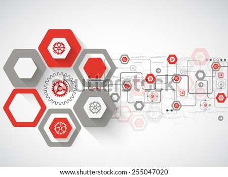 Abstract background with various technological elements - stock vector