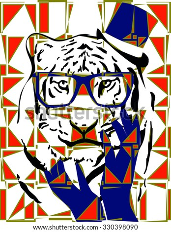 abstract background with vibrant color tiger face illustration together vector prints pattern. for fashion and graphic design. t shirt print, screen printing, special day gift offer. poster, gift tag,