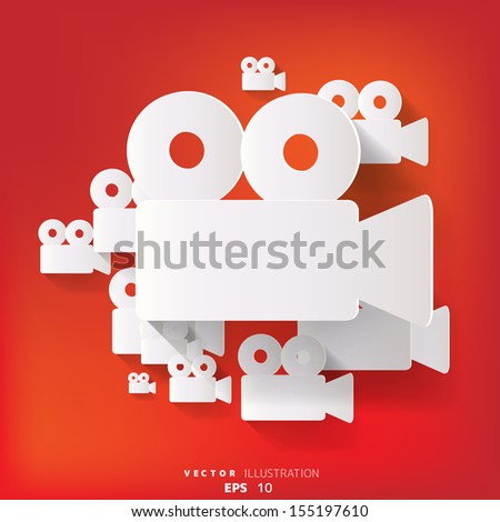 abstract background with video-camera web icon, flat design - stock vector