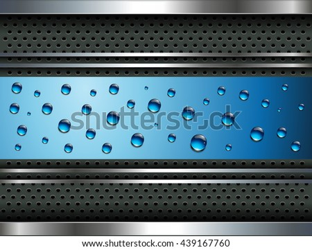 Abstract background with water drops, blue dew and metallic elements, vector design. - stock vector