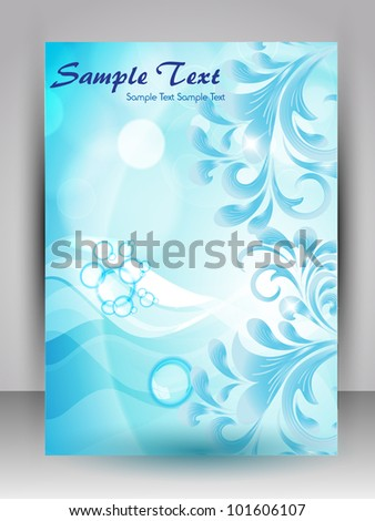 Abstract background with water waves with floral design and space for your text, can be use as flyer, banner or poster for save water concept and other purpose. EPS 10.