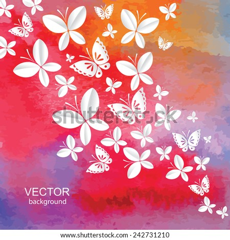 Abstract  background with watercolor effect and  butterflies. Vector. - stock vector