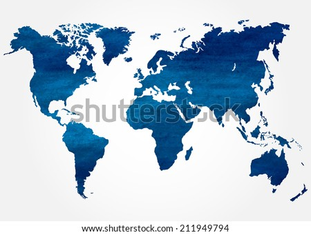 Abstract background with watercolor map of the  world. Vector illustration. - stock vector