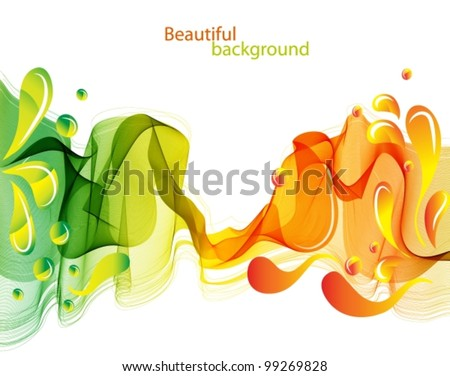 Abstract background with waves and drops, beautiful vector illustration - stock vector