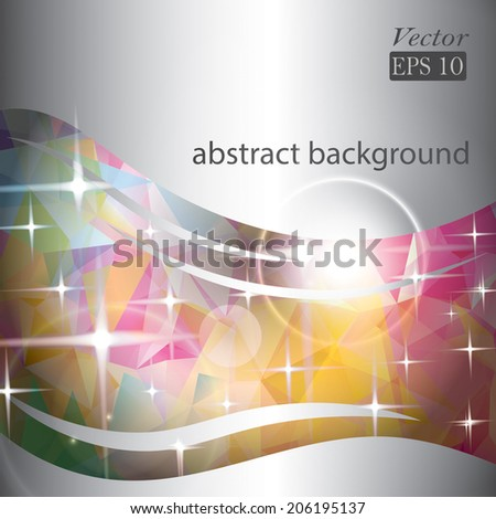 Abstract background with waves and triangles