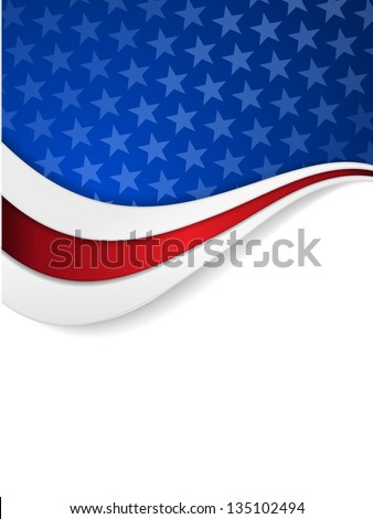 Abstract background with wavy pattern and space for your text.Stars on dark blue background with wavy stripes in red and white make it a great backdrop for USA themes, like Independent Day, etc. - stock vector