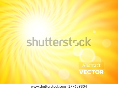 Abstract background with wavy sunshine and flares - stock vector