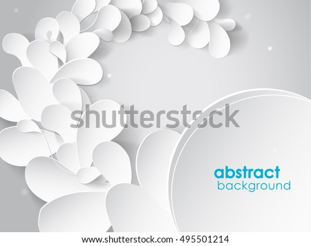 Abstract background with white 3D paper flower petals and shadow.