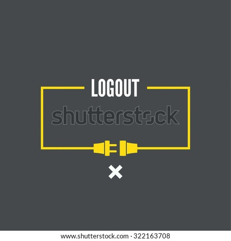 Abstract background with wire plug and socket. Concept connection, connection, disconnection, electricity. Flat design. Log off - stock vector