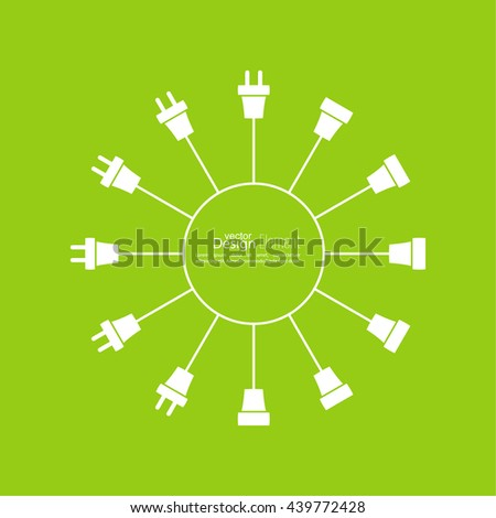 Abstract background with wire plug and socket. Concept connection, disconnection, electricity. Icon wire plug - stock vector
