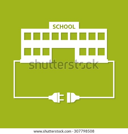 Abstract background with wire plug, socket and school building. Flat design. - stock vector