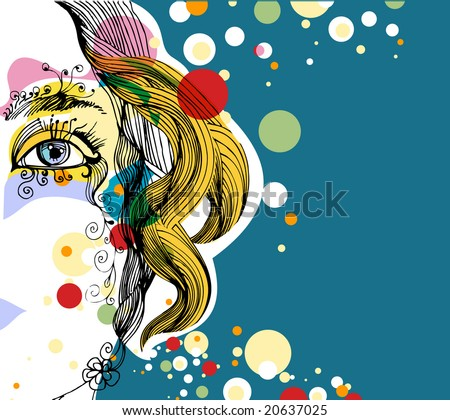 abstract background with woman portrait