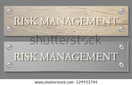 Abstract background with wooden pattern and glass panel with the words risk management