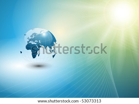 abstract  background with world globe and sun, EPS10 vector. - stock vector