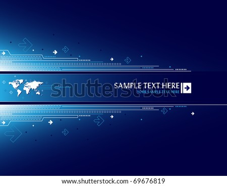 Abstract background with world map - stock vector