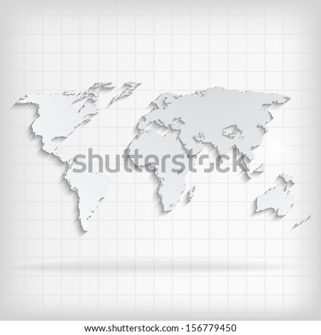 Abstract background with world map on white - vector illustration - stock vector