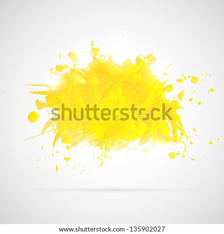 Abstract background with yellow paint splashes. Vector illustration.