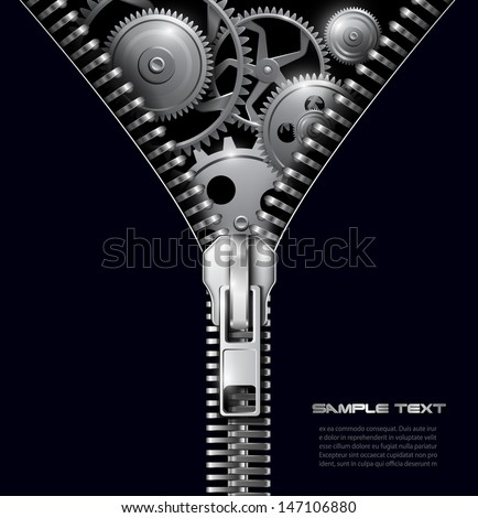 Abstract background zipper with gears, vector. - stock vector