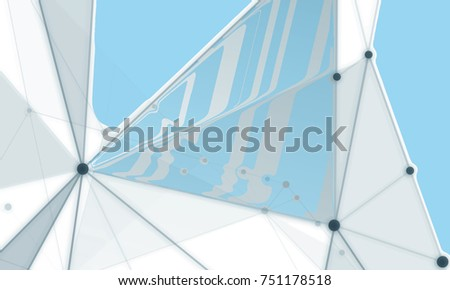 Abstract backgrounds of molecules lines light blue