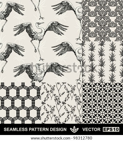 Abstract backgrounds set, fashion seamless patterns, vector wallpapers, vintage and monochrome fabrics with dancing stork, graphic birds, flowers, leafs and geometric ornaments- japan style for design - stock vector