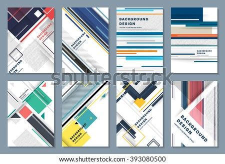 Abstract Backgrounds Set. Geometric Shapes and Frames for Presentation, Annual Reports, Flyers, Brochures, Leaflets, Posters, Business Cards and Document Cover Pages Design. A4 Title Sheet Template. - stock vector