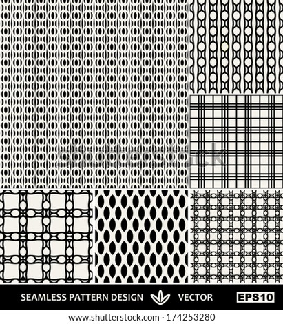 Abstract backgrounds set, Retro style seamless patterns,  trendy style 40s, 50s, 60s, 70s, 80th , 90s, templates, layouts, sketches, tissue samples for design  - stock vector