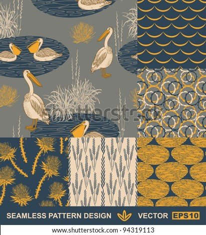 Abstract backgrounds set, vector wallpapers, seamless patterns, fabrics and wrappings with graphic flowers, birds, leafs, and geometric ornaments - summer and spring theme for decoration and design - stock vector