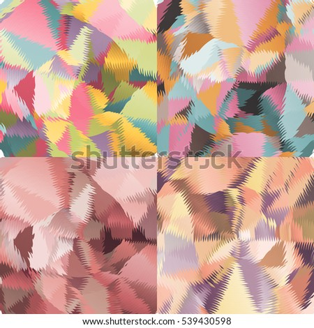 Abstract backgrounds with triangles and colorful geometric shapes. Texture pattern for covers, banners, booklets, etc. For web or printed media.
