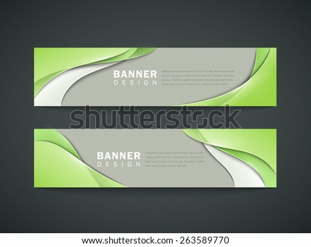 abstract banner set design with elegant green streamline pattern over grey background - stock vector