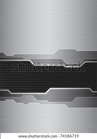 Abstract banner with brushed metal texture and metal grid - stock vector