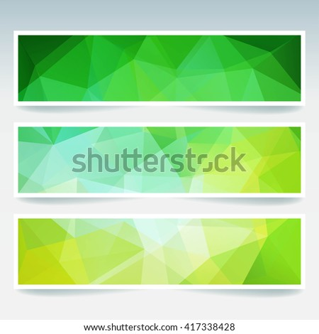 Abstract banner with business design templates.  Set of Banners with polygonal mosaic backgrounds. Geometric triangular vector illustration. Green, yellow colors.  - stock vector
