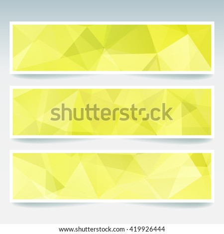 Abstract banner with business design templates.  Set of Banners with polygonal mosaic backgrounds. Geometric triangular vector illustration. Yellow, green  colors.  - stock vector