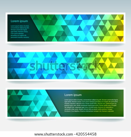 Abstract banner with business design templates.  Set of Banners with polygonal mosaic backgrounds. Geometric triangular vector illustration. Yellow, green, blue colors.  - stock vector