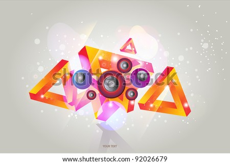 Abstract banner with music speakers - stock vector