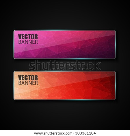 Abstract banner with polygon background, banner vector - stock vector