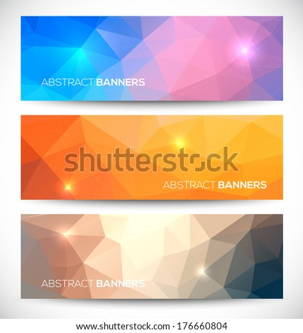 Abstract banners collection. Geometric banneres set