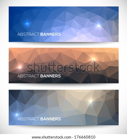 Abstract banners collection. Geometric banneres set - stock vector