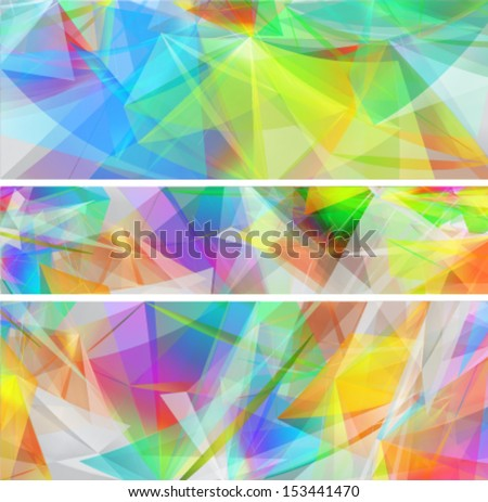 abstract banners set with colorful shiny geometric shapes - stock vector