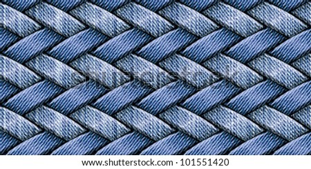 Abstract basket weaving from textured striped vintage washed and raw blue jeans  denim linen  fabrics. Seamless pattern. Vector. - stock vector