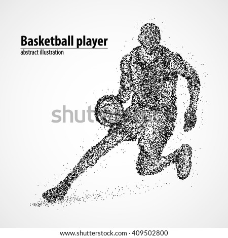 Abstract basketball player of the black circles. Vector illustration. - stock vector