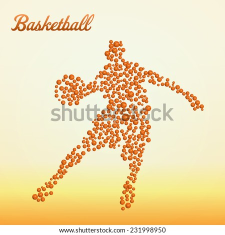 Abstract basketball player silhouette from balls dribbling - stock vector