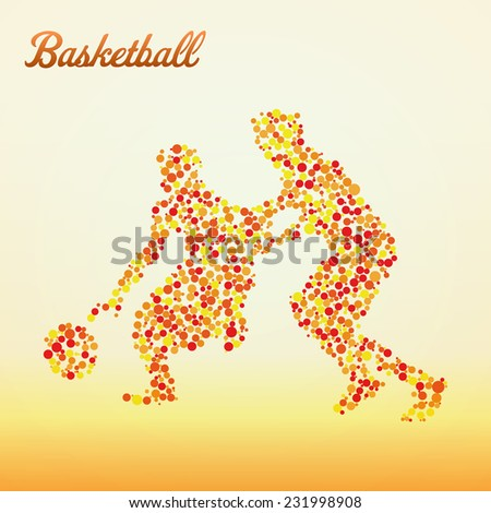 Abstract basketball player silhouette from dots dribbling - stock vector