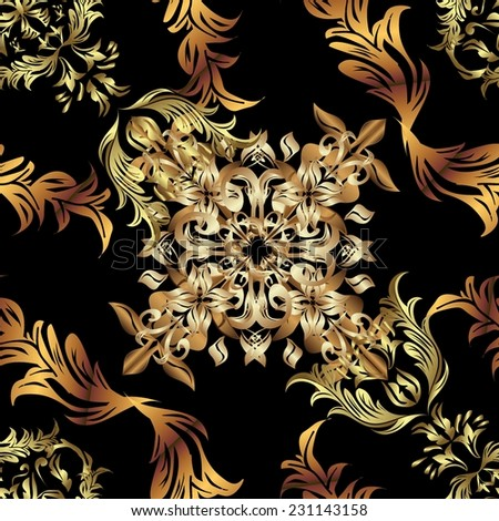 Abstract beautiful background, royal, damask ornament, vintage, rich seamless pattern, luxury, artistic vector wallpaper, floral, oldest style fashioned arabesque fabric for decoration and desig - stock vector