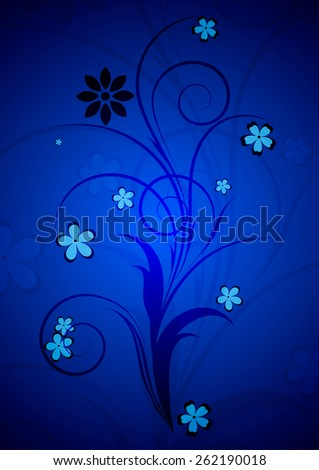 Abstract beautiful blue floral background. - stock vector